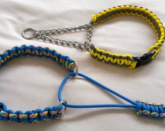 Martingale collar with side release buckle, Paracord 550, choice of styles & colours