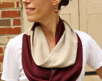 100% Cashmere Infinity Scarf; Upcycled Cashmere Scarf; Recycled Cashmere Knit Scarf; Colorblock Burgundy & Beige mens womens Cashmere Scarf