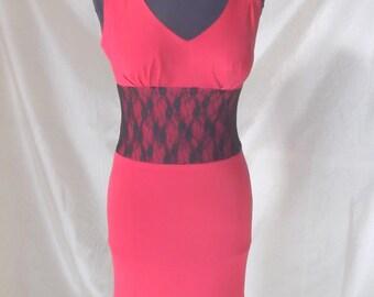 red dress, jersey dress, lace dress , red sheath dress