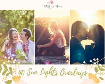 40 Sun Light Photoshop Overlays, Natural Sunlight Overlays, Sun Flare, Wedding Overlays, Digital Backdrop, light overlay, sun flare overlay