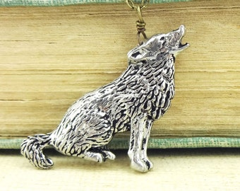 Wolf Necklace. Antiqued Pewter and Antiqued Bronze Chain Necklace Pendant.