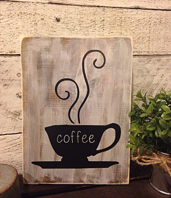 Kitchen Decor Cafe Themes: Coffee Sign Rustic Kitchen Decor Coffee Bar Sign Cafe