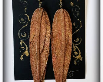 Leather Feather Earrings, Bronze Brown Earrings, handmade Earrings, Long Earrings, Feather Earrings