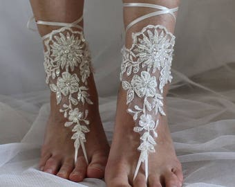 barefoot sandals,wedding shoes, summer shoes,Beaded ivory  lace, wedding sandals,prom dress accessories, foot jewelry,  N-14A