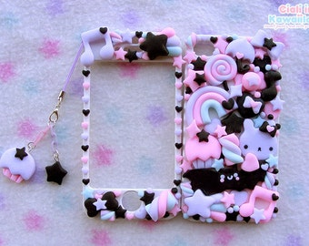 Kawaii Decoden Case Pastel Goth, Spooky fairyland  Super cute kawaii full body front back case iphone 4/5/5s/6/6s/7/6&7plus Galaxy s6 s7 s8
