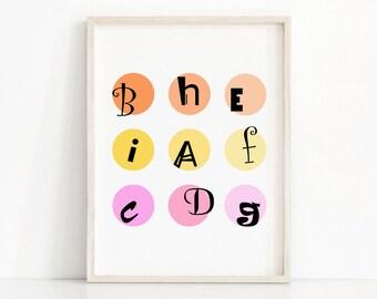 Kids Print, Letters Print, Printable Art For Nursery, Alphabet Print, Kids Room Decor, Printable Alphabet, Playroom Decor, Instant Download