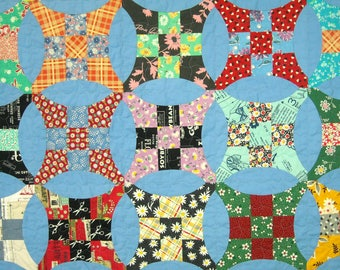Twin Size Quilt - 69 x 91 - Improved Nine Patch - Vintage 30s Look - Reproduction Feed Sack Prints