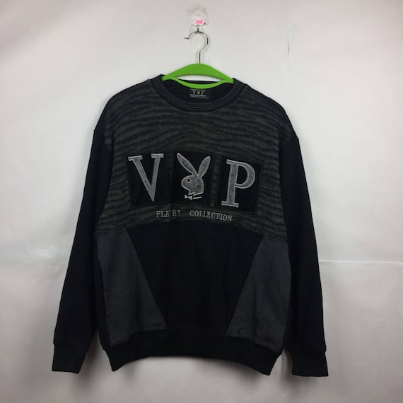 Vintage Deadstock Playboy small bunny embroidered spell out logo pullover stripe sweatshirt / sweater / jumper / knitwear WkPHqKwg