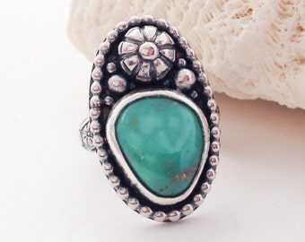 Floral Turquoise Ring Size 6 1/2 Sterling Silver Tunnel Mine Turquoise Ring, Artisan SilverSmith Flower Design, Unique Bohemian Stacker