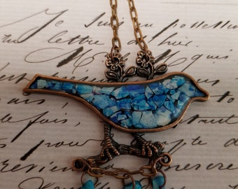 Blue Bird of Happiness Antique Copper Mosaic Bird Pendant Necklace