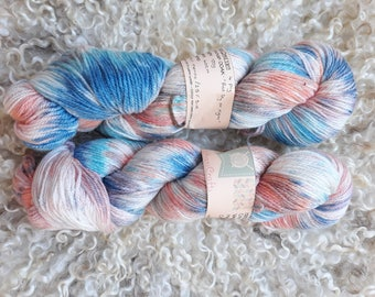 Hand dyed yarn- red sky at night -4 ply