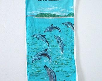 Vintage Linen / Cotton Dish Hand Towel Dolphins Australia