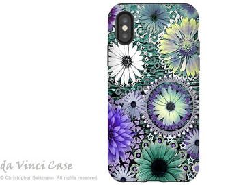 Purple Paisley Floral iPhone X Tough Case - Dual Layer Protection for iPhone 10 - Tidal Bloom Protective Case by Da Vinci Case