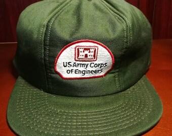 Vintage U.S Army Corps of engineers green snapback trucker hat