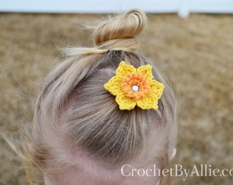 Daffodil flower hair clip, Easter, spring, narcissus, girls, crochet by allie