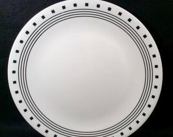 ON SALE Corelle CITY Block Set of 4 Dinner Plates Livingware Black Rings \u0026 Squares Dinnerware & Corelle dinnerware | Etsy