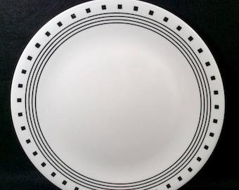 ON SALE Corelle CITY Block Set of 4 Dinner Plates Livingware Black Rings u0026 Squares Dinnerware Excellent Condition & Corelle dinnerware | Etsy