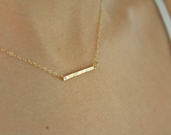 Gold Bar Necklace, Gold Necklace, Dainty Gold Necklace, Gold Jewelry, girlfriend gifts for her, best friend gifts birthday gifts Christmas