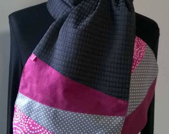 Pink and charcoal grey scarf