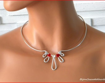 In stock fast shipping... red rose bridal kim aluminium silver Pearl wedding necklace