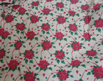 Vintage Cotton Poinsettia Christmas Table Cloth Made in Italy Christmas Table Linen Holiday Decorations Christmas Tablecloth Poinsettia