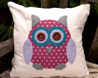 """Owl Cushion - Pink/Turquoise/Grey/Love hearts """"The Owl of Hoots"""" Collection, Tamsin Reed Designs"""