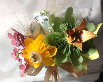 Origami Tropical Flower Bouquet With 8 Tropical Colored Flowers
