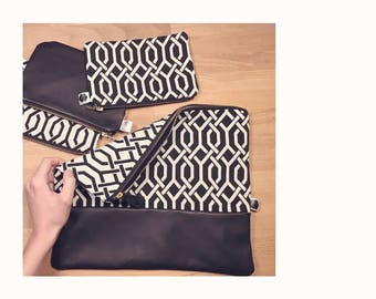 Clutch-clutch in fabric and leather