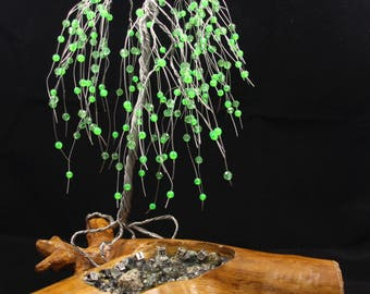 Weeping Willow Stainless Wire Tree w/ Green Beads
