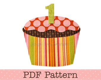 Birthday Cupcake Applique Template Cupcake with Number on Top, Cup Cake, DIY, Children, PDF Pattern by Angel Lea Designs