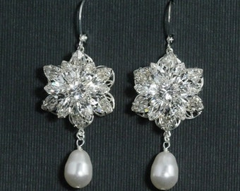 Bridal Earrings -- Rhinestone Pearl Wedding Earrings, Bridal Jewelry, Rhinestone Flower, Wedding Jewelry, Vintage, Dramatic --  DIANA