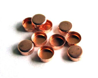 LAST ONE - Bezel Cups - 5 mm Round Solid Copper Plain Wall - Quantity 10 - Jewelry or Craft Supply