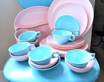 Vintage Melmac | Melmac Dish Set | 22 Piece Melamine Set of Dishes | Groovy Modern Dish Set | Pink Spotted Melmac | Teal Melmac | US Canada & Melmac | Etsy