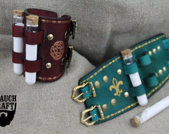 Leather bracelet fantasy with potions elixirs alchemy vials, larp rpg handmade cosplay