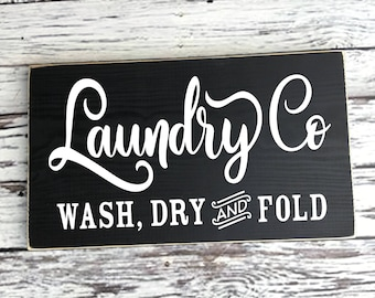 Laundry Co | wash dry fold | Laundry Room | Laundry decor | Laundry Sign | Wood Sign | Wall decor | farmhouse style | Style #HM229