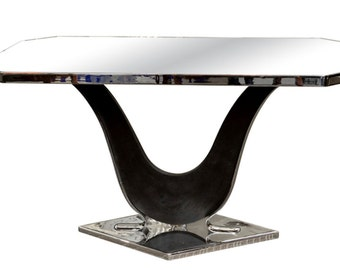 French Modernist Nickel Plated and Mirrored Side Table in Style of Jacques Adnet [4044]