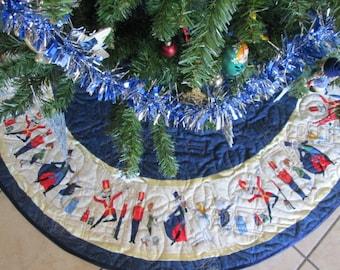 Nutcracker Christmas Tree Skirt,  Blue Gold Quilted  Tree Skirt, Christmas Decoration, Christmas Decor, Blue Gold Holiday Decor