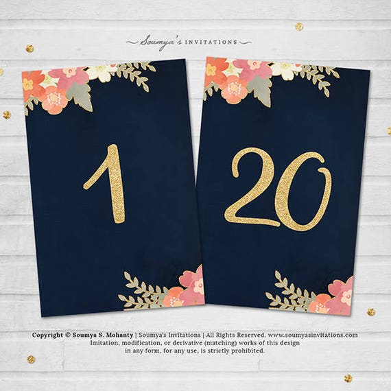 Navy Blue And Gold Wedding Table Numbers Navy And Gold Blush