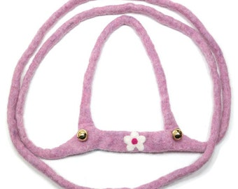 Horse leash for children, hand felted, old rose mottled with blossom PF6127