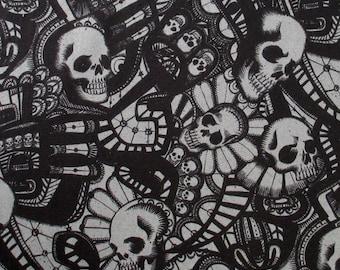 Skull Fabric, The Catacombs in Charcoal Gray, Alexander Henry, Skullduggery, Last One Yard