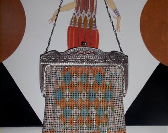All that JAZZ! Cool Cut-Out Frame DECO Whiting & Davis Enameled Mesh Purse ~1920s Vintage Flashy Flapper Mesh Bag ~Nouveau Style ~Minty!