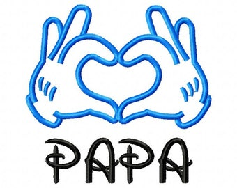 Love papa Applique Designs 8 Size Machine Embroidery Embroidery Designs Kid Embroidery  Pes - Instant Download