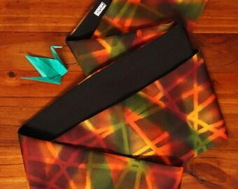 Vintage Silk Infinity Scarf  |  Japanese Recycled Kimono Fabric  |  Orange Green Black |  Recycled  |  Loop Scarf  |  Circle Scarf