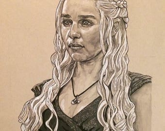 Game of Thrones Daenarys Mother of Dragons Portrait Original Artwork