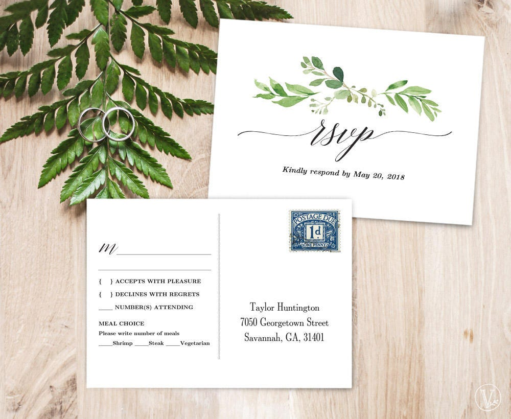 Greenery rsvp postcard template printable wedding rsvp card for 6x4 postcard template