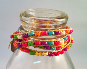 Vegan quadruple wrap bracelet with funky rainbow flower beads
