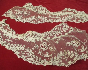 Antique Victorian Applique net lace lot 2 pieces