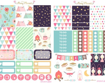 Camp Away Weekly Planner Sticker Kit for use with ERIN CONDREN LIFEPLANNER™, Happy Planner, Travelers Notebook etc