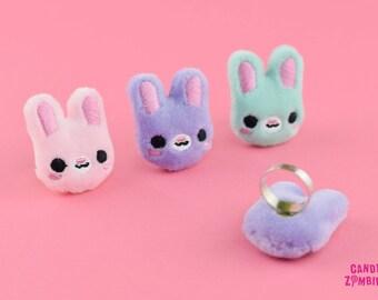 RING BUNNY HASE - Kawaii Statement Ring in Häschen-Form - gestickt auf weichen Minky - in 3 Farben erhältlich