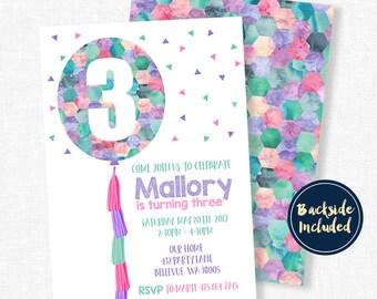 Balloon Birthday Invitation, Balloon Tassel Invitation, Geometric Invitation, Girl Birthday Invitation, Watercolor